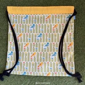 mochila cuerdas pajaros tela algodon artesanal delante nordica