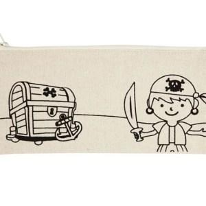 estuche pirata cofre tesoro pintar tela manualidades