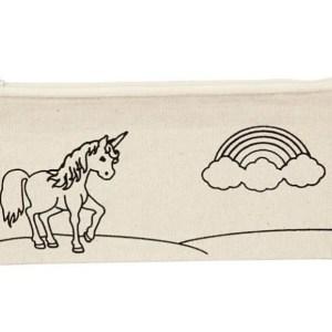 estuche unicornio arco iris pintar tela manualidades