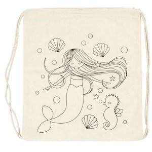 mochila cuerdas sirena caballito mar conchas manualidades para pintar