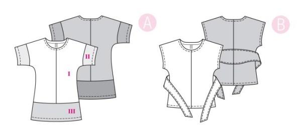 Выкройка Burda №6330 — Блузка с цельнокроенным рукавом, туника