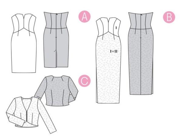 Выкройка Burda  6346 — Вечернее и свадебное платье, болеро