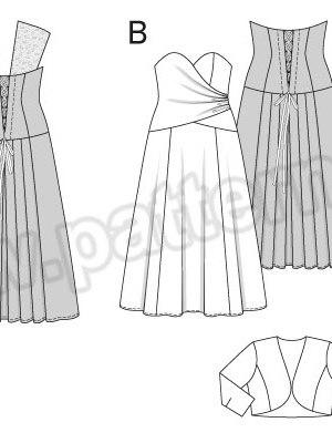 Выкройка Burda №6710 — Вечернее и Свадебное платье, Жакет