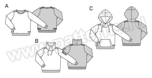 Выкройка Burda №9407 — Пуловер, Толстовка