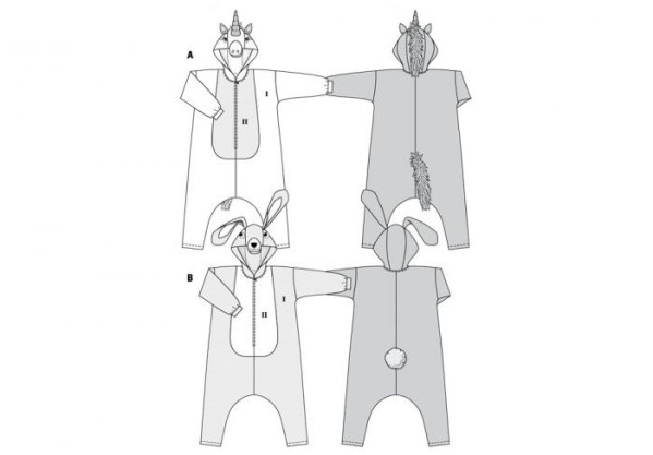 Выкройка Burda 2351 — Карнавальный костюм: Заяц, Единорог