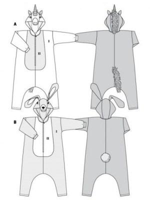 Выкройка Burda №2351 — Карнавальный костюм: Заяц, Единорог
