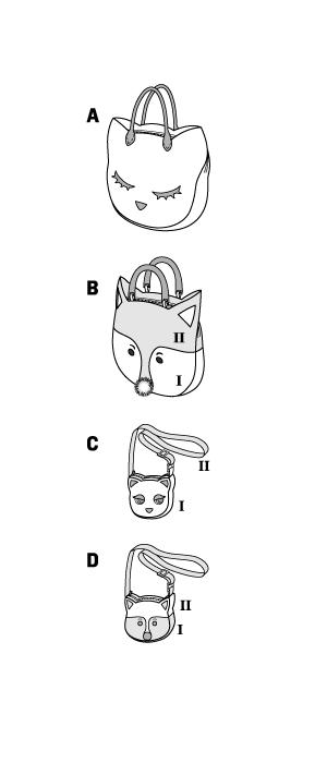 Выкройка Burda  6828 — Сумки: Кошка, Лиса