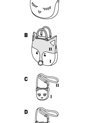 Выкройка Burda №6828 — Сумки: Кошка, Лиса