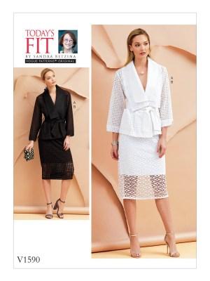 Выкройка Vogue №1590 — Костюм (жакет + юбка) от Today's Fit by Sandra Betzina