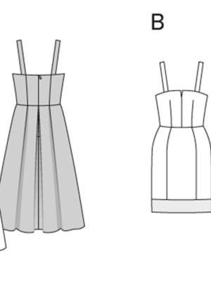 Выкройка Burda №6918 — Ретро-сарафан с юбкой со складками