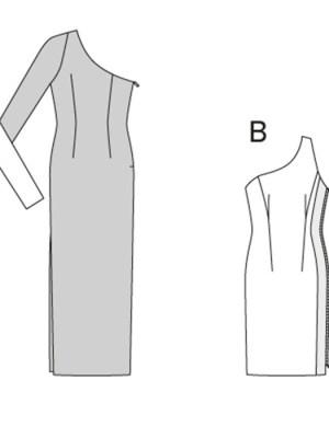 Выкройка Burda  6943 — Платье с асимметричным вырезом