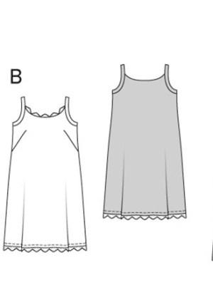 Выкройка Burda  6949 — Туника, платье с воланом