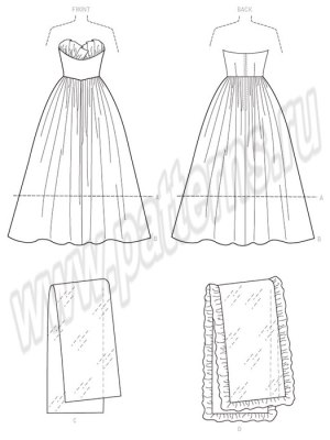 Выкройка Butterick №6454 — Ретро 1950: Вечернее платье и Палантин