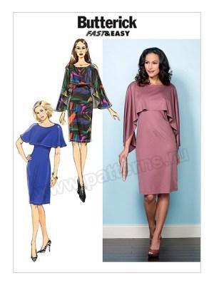 Выкройка Butterick — Трикотажное платье с пелериной - B6479