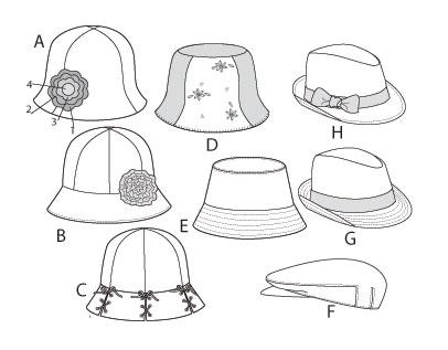 Выкройка McCall's — Детские шляпы - M6762