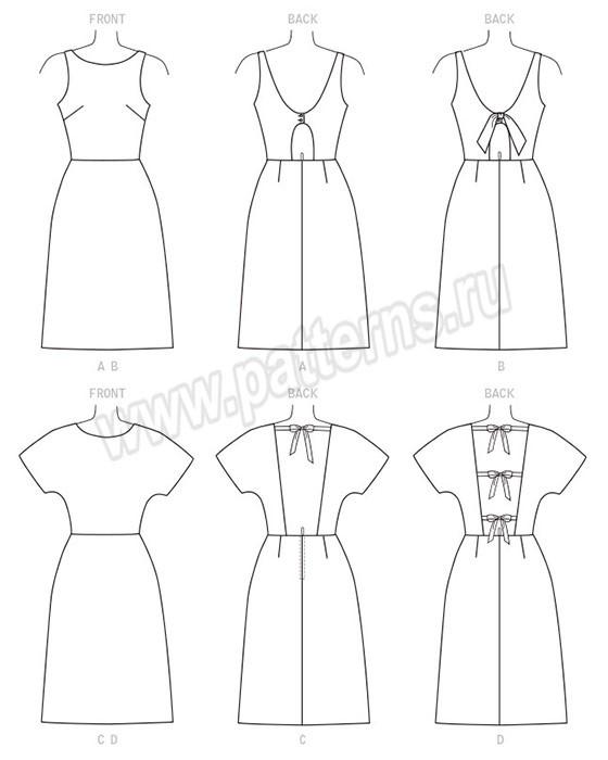 Выкройка McCall's — Платье с открытой спиной - M7740
