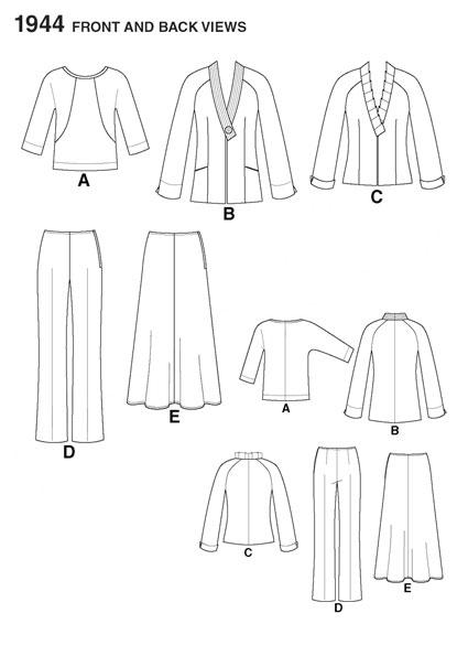 Выкройка Simplicity — Блузка, Юбка Жакет, Брюки - S1944