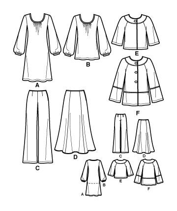 Выкройка Simplicity — Брюки, Юбка, Куртка, Платье, Туника - S2766 ()