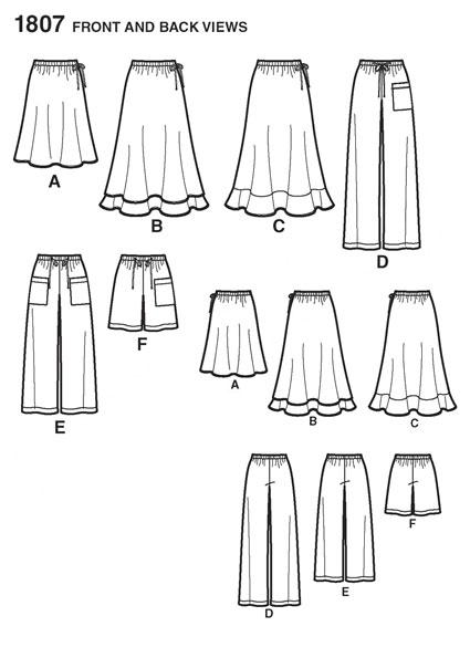 Выкройка Simplicity — Юбка, Брюки, Шорты - S1807