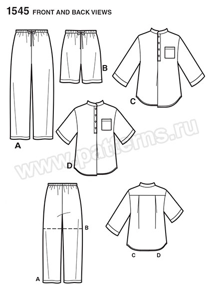 Выкройка Simplicity — Пижама - S1545