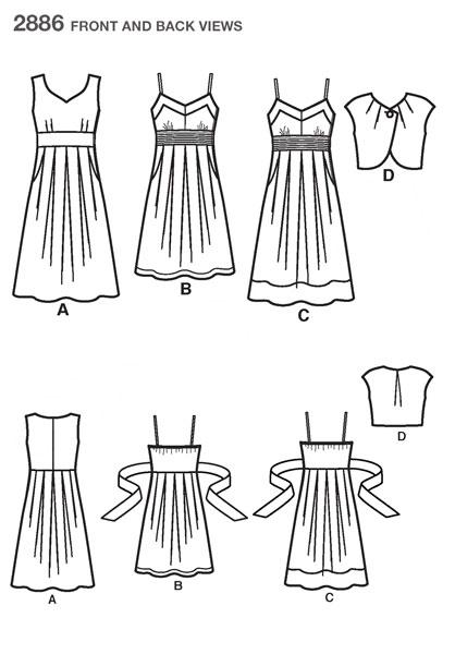 Выкройка Simplicity — Платье, Болеро - S2886 ()