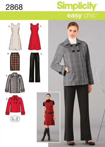 Выкройка Simplicity — Платье, Юбка, Жакет, Брюки - S2868 ()