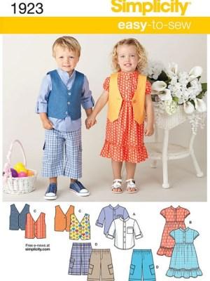 Выкройка Simplicity №1923 — Платье, Рубашка, Жилет, Шорты