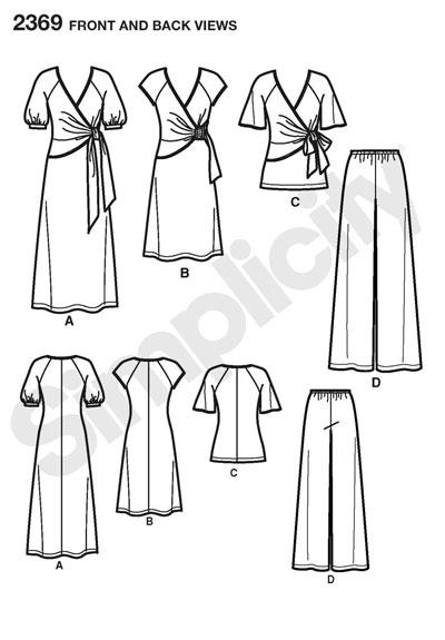 Выкройка Simplicity — Платье, Туника, Брюки - S2369 ()