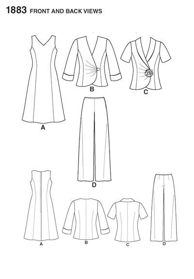 Выкройка Simplicity — Платье, Жакет, Брюки - S1883 ()