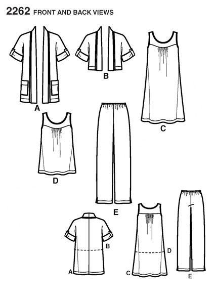 Выкройка Simplicity — Топ, Платье, Жакет, Брюки - S2262
