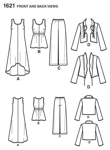 Выкройка Simplicity — Топ, Сарафан, Жакет, Брюки - S1621 ()