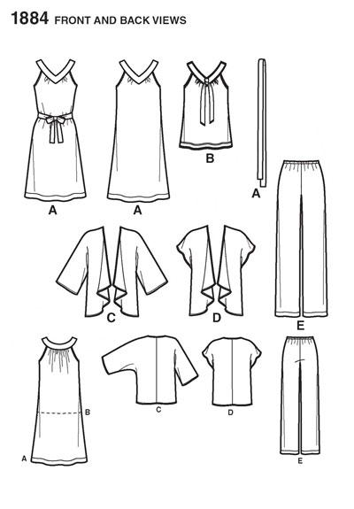 Выкройка Simplicity — Топ, Сарафан, Жакет, Брюки - S1884 ()