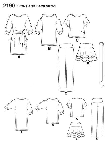 Выкройка Simplicity — Топ, Туника, Платье, Юбка, Брюки - S2190