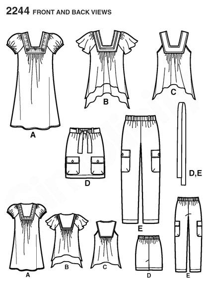 Выкройка Simplicity — Топ, Туника, Платье, Юбка, Брюки - S2244
