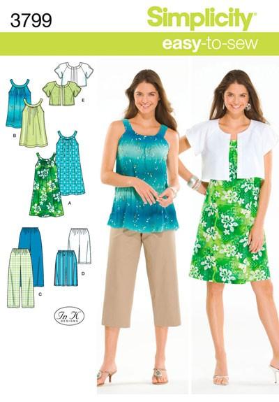 Выкройка Simplicity — Туника или Платье, Капри или Шорты, Жакет - S3799 ()