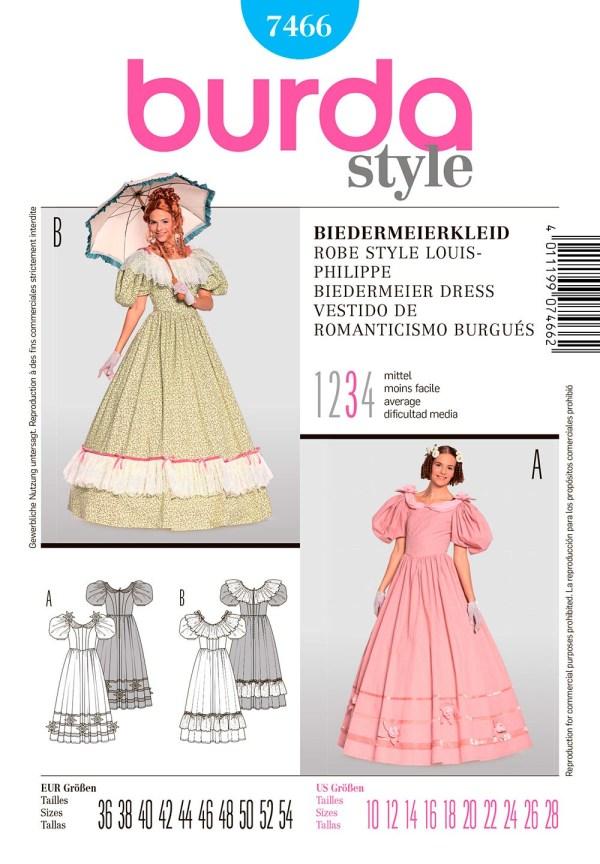Выкройка BURDA №7466 — Платье в стиле бидермейер