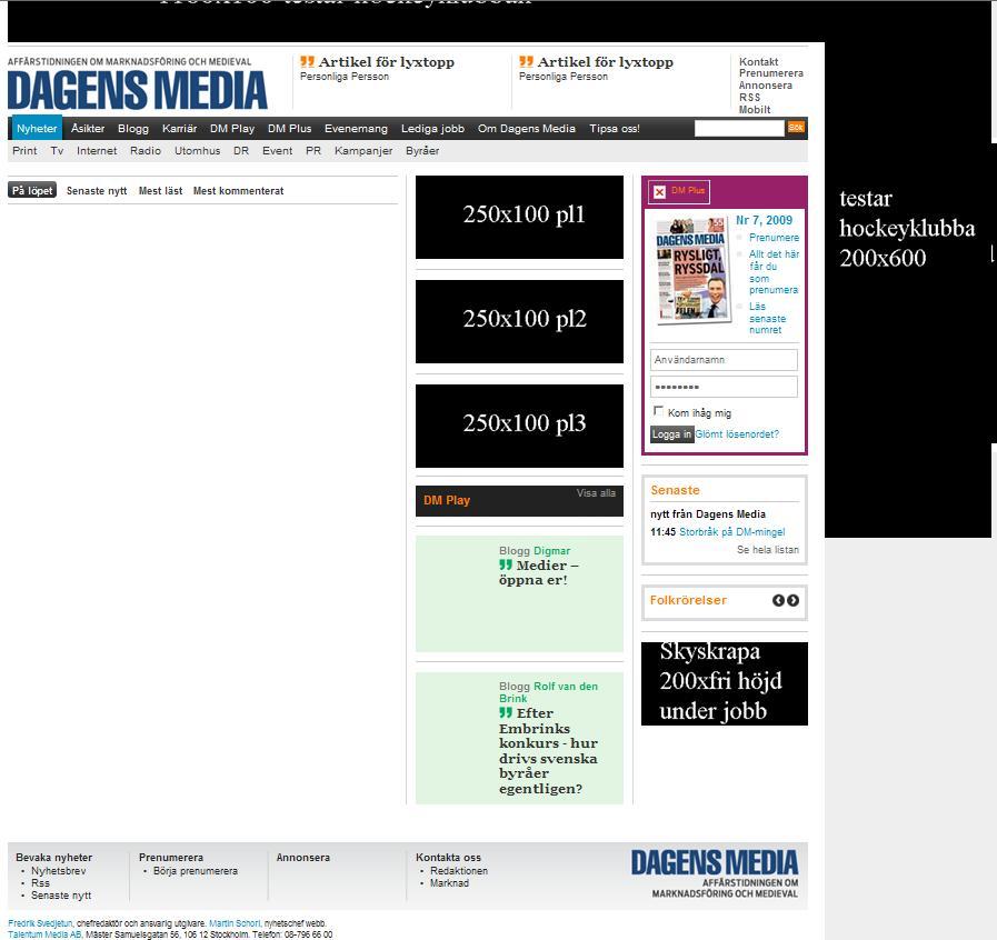 Bra, men få nyheter på nya Dagens Media?