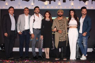Abhishek Rege (COO, Endemol Shine) Rajesh Iyer (Business Head, &TV), Terence Lewis, Madhuri Dixit, Bosco Martis, Mouni Roy and Rithvik Dhanjani at the launch of So You Think You Can Danc (1)