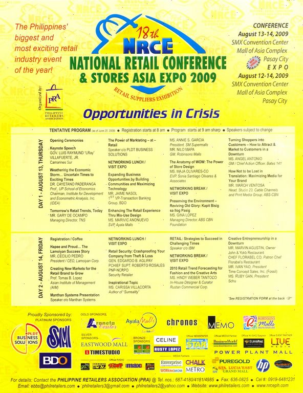 18th NATIONAL RETAIL CONFERENCE & STORES ASIA EXPO 2009 | Philippine