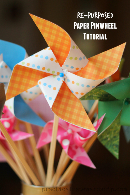 Re Purposed Paper Pinwheel Tutorial Practical Stewardship