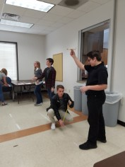 Students test their gliders.