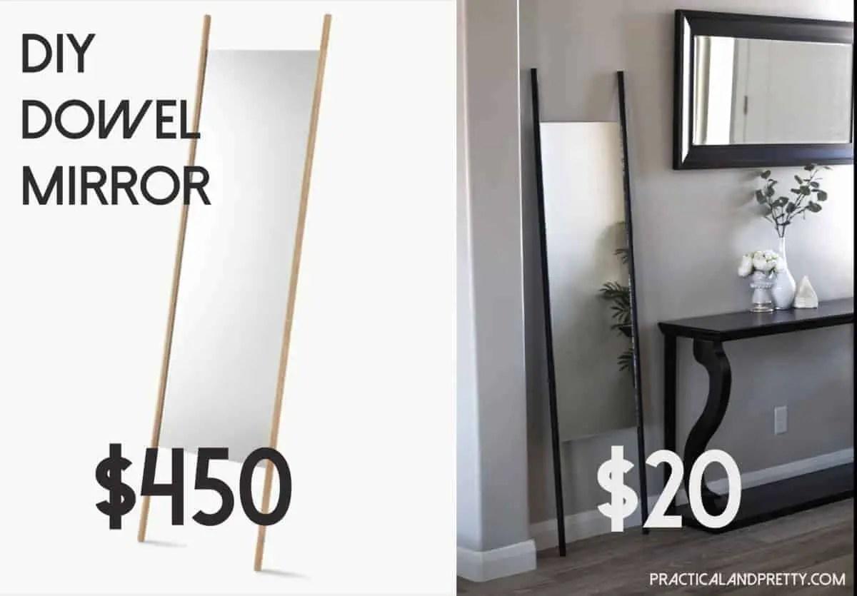 DIY Full Length Dowel Mirror