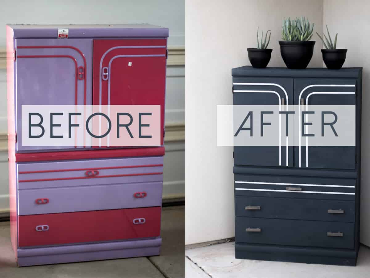 DI Upcycled Cabinet: From Pink and Purple to Moody and Modern