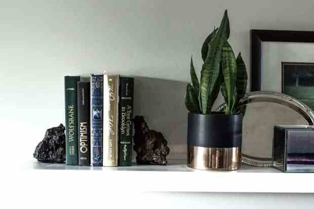 I love bringing in a natural touch to my home decor. These lava rock book ends are so simple but look really nice on your shelf!