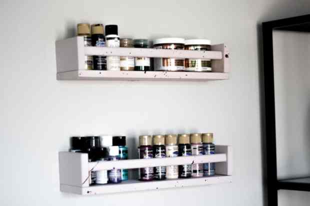 I use my BEKVAM spice rack as a shelf for my acrylic paints! I decided to use a little chalk paint and love the way it turned out.