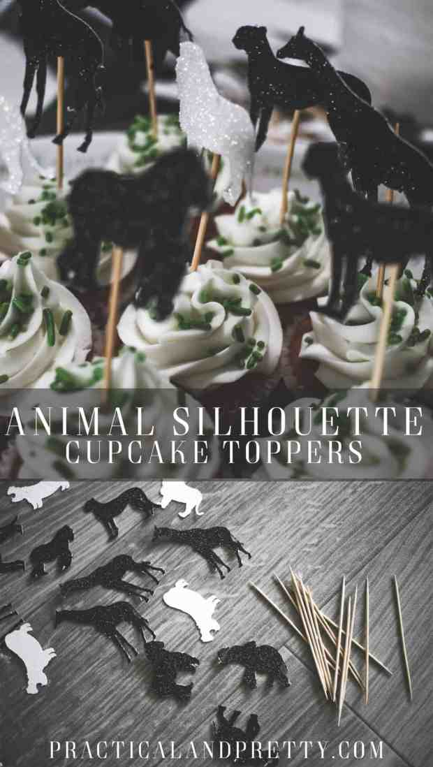 Easy DIY animal silhouette cupcake toppers for any animal themed birthday party with a free file to use!