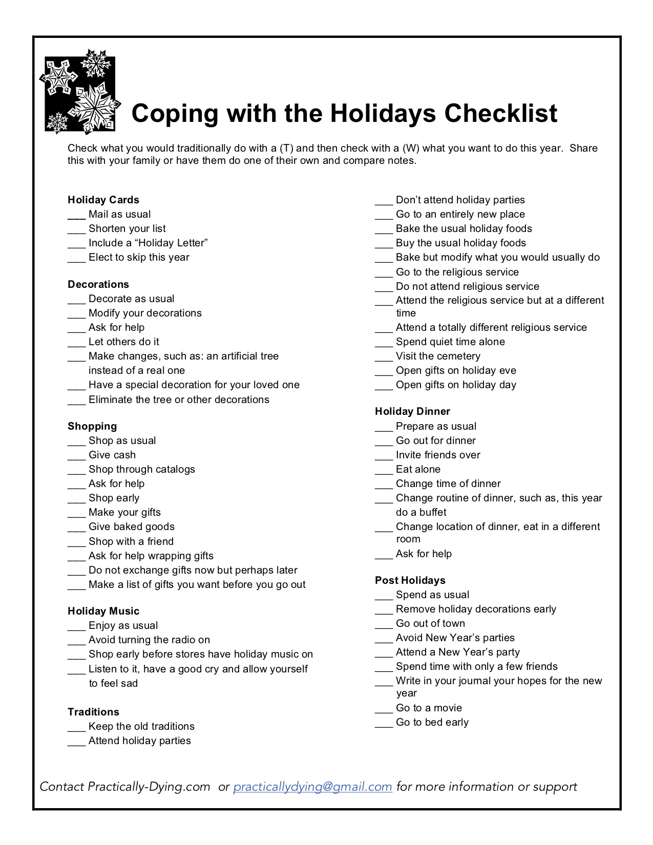 Coping With The Holidays Checklist