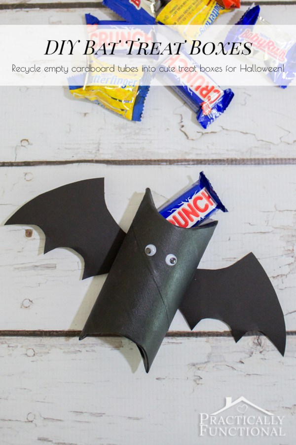 Recycle an empty cardboard tube into a super cute bat treat box for Halloween!