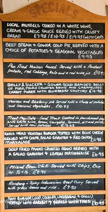 Food at King's Head, Gower Peninsula, Llangenith, Wales