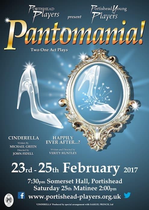Pantomania poster, Portishead Players pantomimeChristmas in Portishead 2016